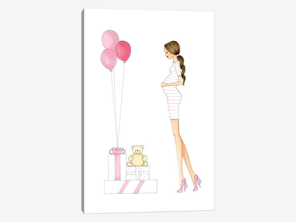 Mother To Be - Pink by Nadine de Almeida 1-piece Canvas Art