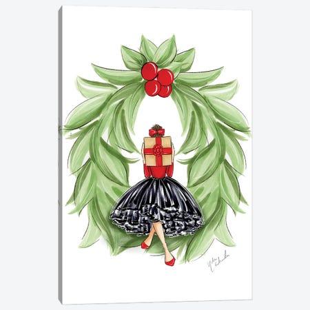 Christmas Wreath Girl Canvas Print #NDN56} by Nadine de Almeida Canvas Print