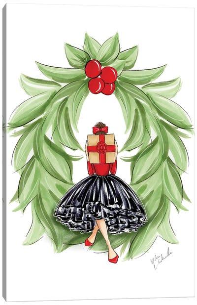 Christmas Wreath Girl Canvas Art Print