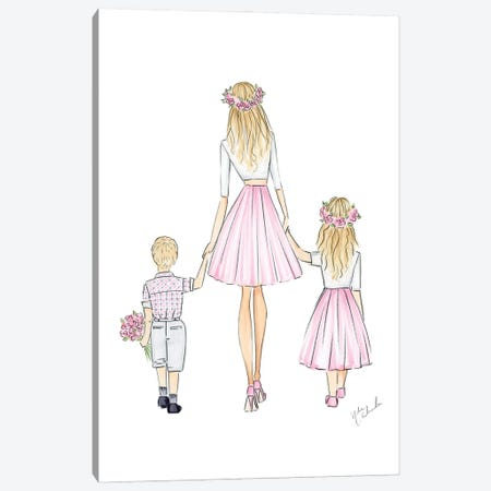 Mother, Son, And Daughter Canvas Print #NDN58} by Nadine de Almeida Canvas Artwork