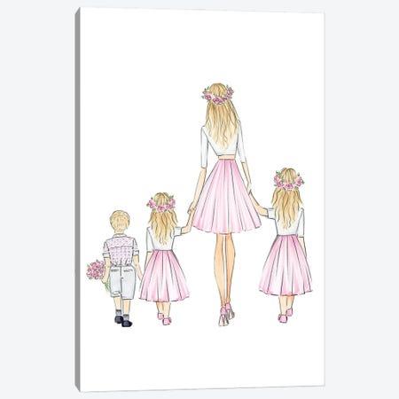 Mother And 3 Kids Canvas Print #NDN62} by Nadine de Almeida Art Print