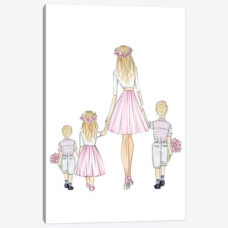 Mother + 2 Sons, Daughter Canvas Print #NDN64} by Nadine de Almeida Canvas Wall Art