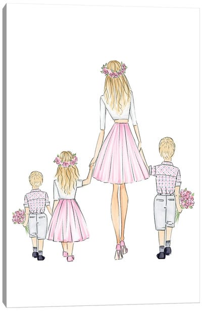 Mother + 2 Sons, Daughter Canvas Art Print