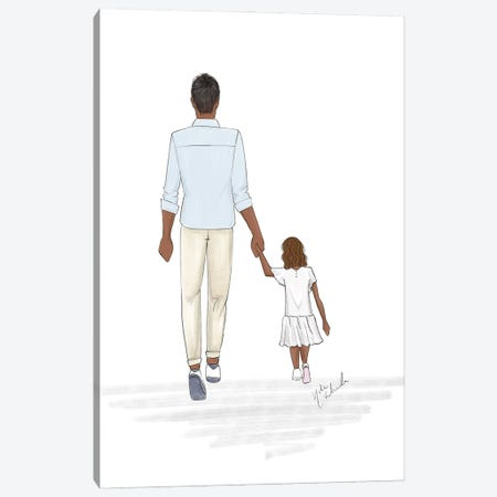 Father And Daughter Canvas Print #NDN70} by Nadine de Almeida Canvas Artwork