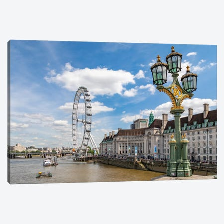 The London Eye and iconic British lamppost in London, England. Canvas Print #NDS10} by Michele Niles Art Print