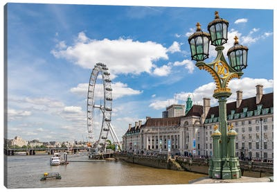 The London Eye and iconic British lamppost in London, England. Canvas Art Print