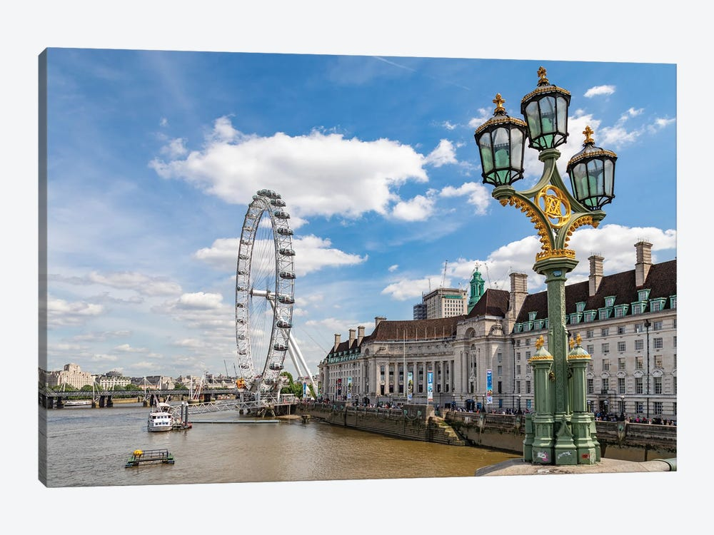 The London Eye and iconic British lamppost in London, England. by Michele Niles 1-piece Art Print
