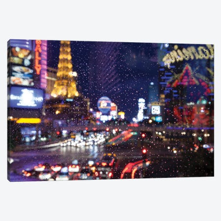 The Strip with Paris at Las Vegas main strip lights at night. Canvas Print #NDS13} by Michele Niles Art Print