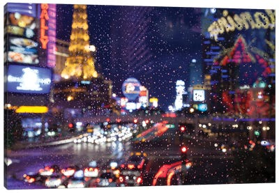 The Strip with Paris at Las Vegas main strip lights at night. Canvas Art Print