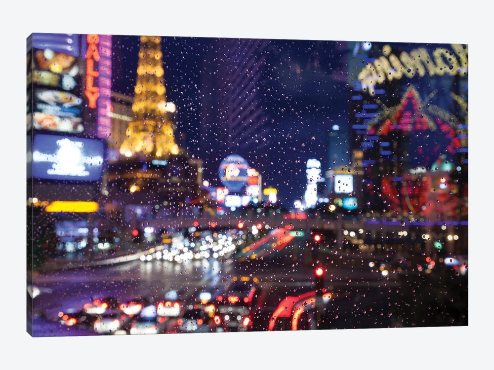 The Strip with Paris at Las Vegas main strip lights at night. by Michele Niles 1-piece Canvas Art