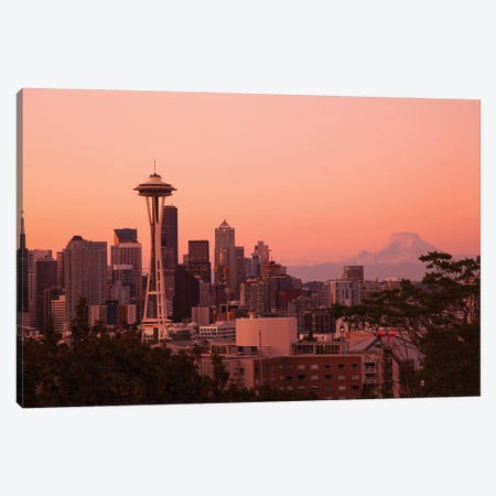 Seattle, Washington State. Skyline at night from Queen Anne's Hill with Space Needle. Canvas Print #NDS15} by Michele Niles Canvas Artwork