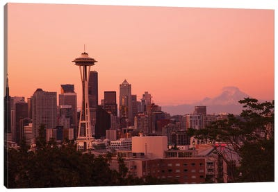Seattle, Washington State. Skyline at night from Queen Anne's Hill with Space Needle. Canvas Art Print