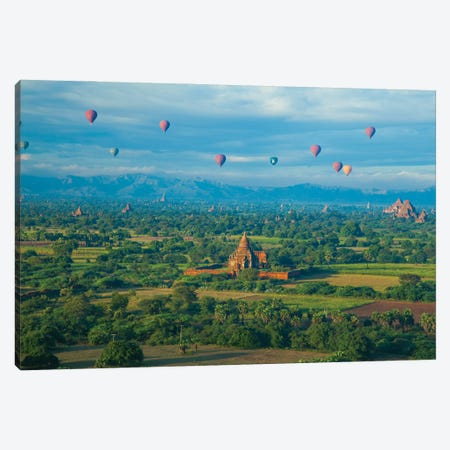 Hot air balloons, morning view of the temples of Bagan, Myanmar. 3-Piece Canvas #NDS1} by Michele Niles Canvas Artwork