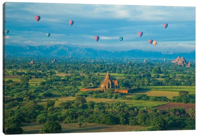 Hot air balloons, morning view of the temples of Bagan, Myanmar. Canvas Art Print