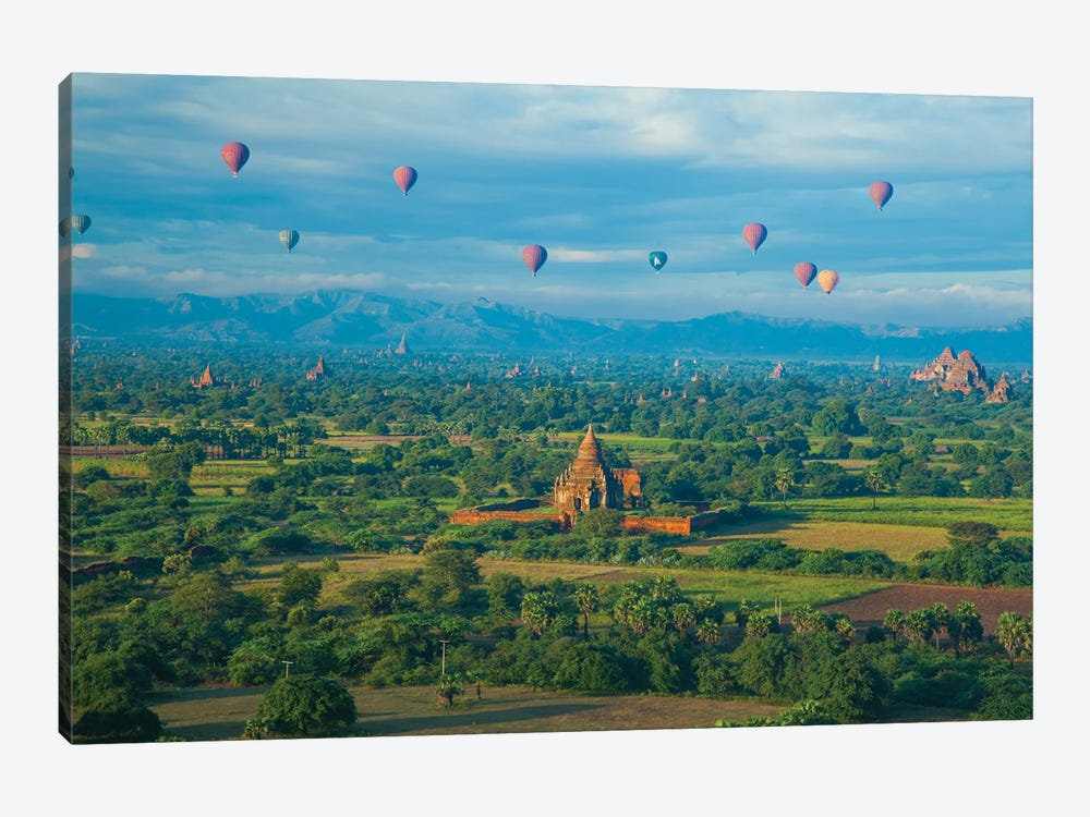 Hot air balloons, morning view of the temples of Bagan, Myanmar. by Michele Niles 1-piece Art Print