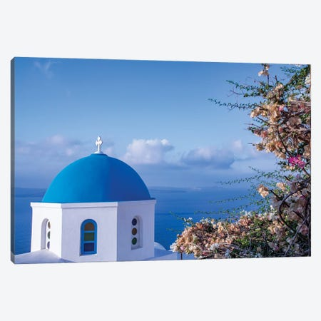 Blue domed Greek Orthodox church with bougainvillea flowers in Oia, Santorini, Greece. Canvas Print #NDS9} by Michele Niles Canvas Artwork
