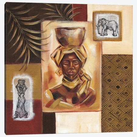 Out Of Africa I 3-Piece Canvas #NDY5} by Wendy Fields Canvas Print