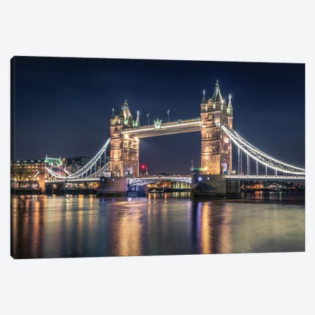 Night At The Tower Bridge Canvas Print #NEA2} by Nader El Assy Canvas Artwork