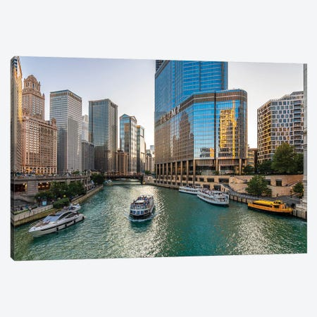 Chicago Riverside Canvas Print #NEJ130} by Nejdet Duzen Art Print