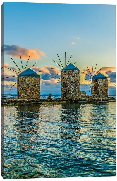 Windmills Of Chios Canvas Art Print