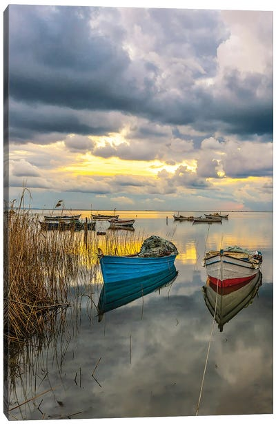 Clouds And Boats Canvas Art Print