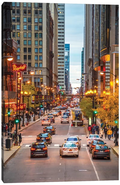 Traffic In Chicago Canvas Art Print