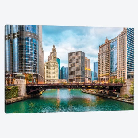 Colorful Chicago Canvas Print #NEJ169} by Nejdet Duzen Canvas Artwork