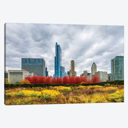 Autumn And Chicago Skyline Canvas Print #NEJ171} by Nejdet Duzen Canvas Art Print
