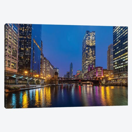 Chicago Night Canvas Print #NEJ195} by Nejdet Duzen Canvas Artwork