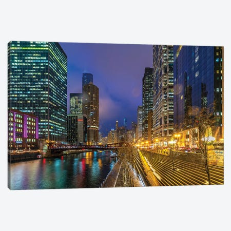 Chicago Lights Canvas Print #NEJ196} by Nejdet Duzen Canvas Artwork