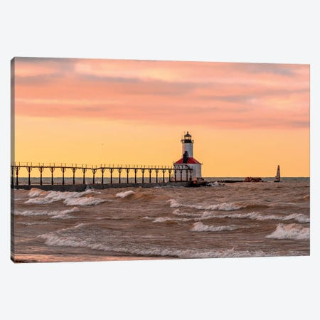 Michigan City Lighthouse V Canvas Print #NEJ218} by Nejdet Duzen Canvas Art