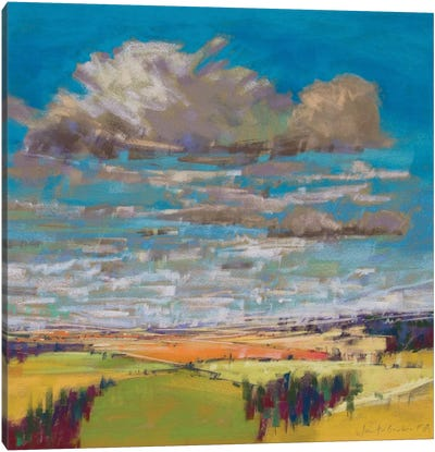Patchwork Fields And Summer Clouds Canvas Art Print