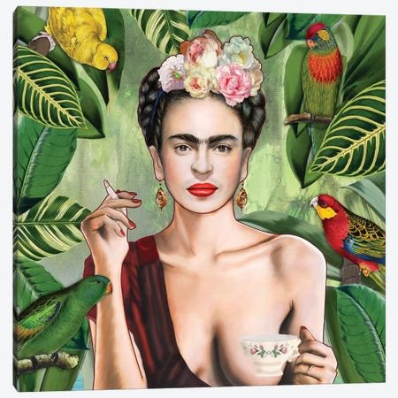 Frida Con Amigos Canvas Print #NET16} by Nettsch Canvas Artwork