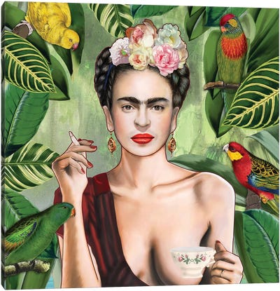 Frida Con Amigos Canvas Art Print