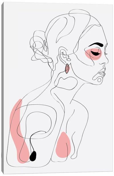 One Line Girl I Canvas Art Print