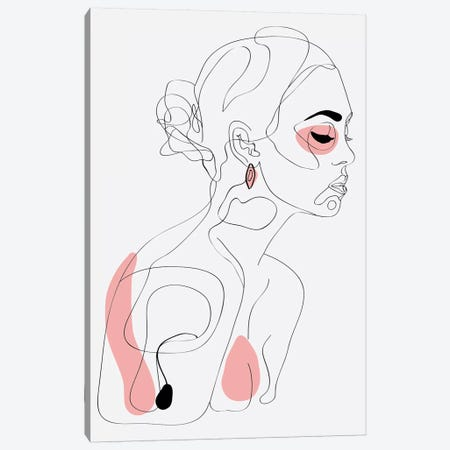 One Line Girl I Canvas Print #NET48} by Nettsch Canvas Artwork