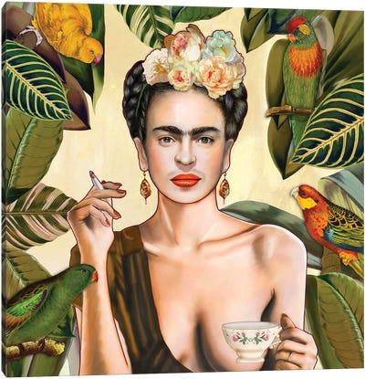 Frida Con Amigos Mexican Canvas Art Print