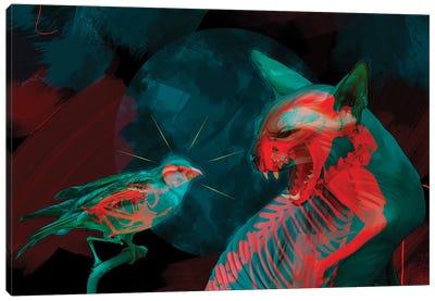 Cat and Bird, Double Exposure Canvas Art Print