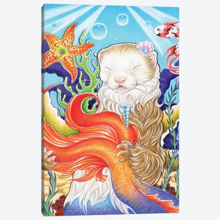 Ferret Mermaid Canvas Print #NEW10} by Natalie Ewert Canvas Artwork