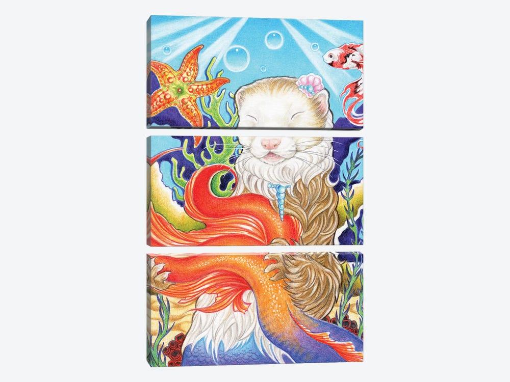 Ferret Mermaid by Natalie Ewert 3-piece Canvas Artwork