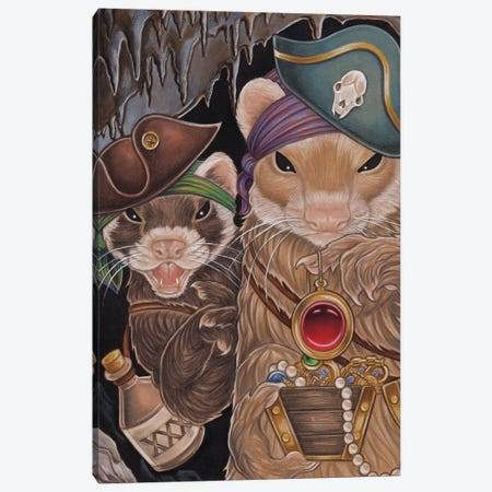 Ferret Pirate Treasure Canvas Print #NEW12} by Natalie Ewert Canvas Artwork