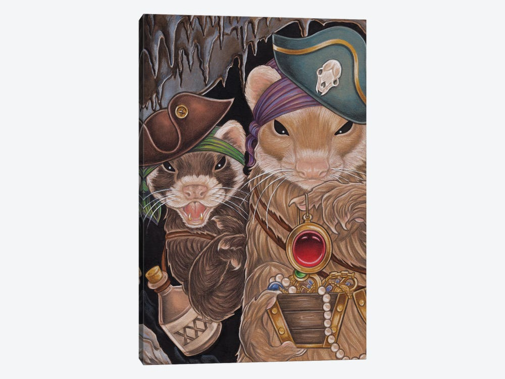 Ferret Pirate Treasure by Natalie Ewert 1-piece Canvas Artwork