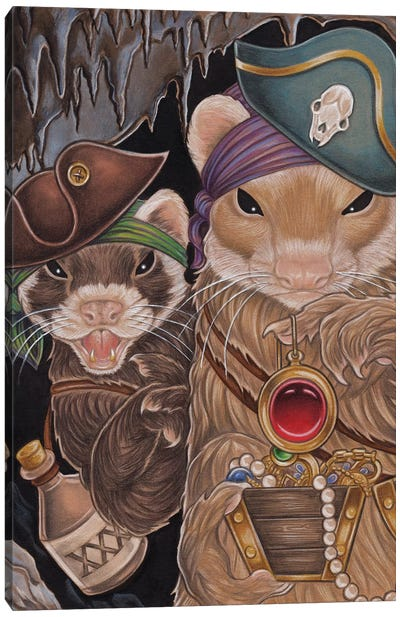 Ferret Pirate Treasure Canvas Art Print