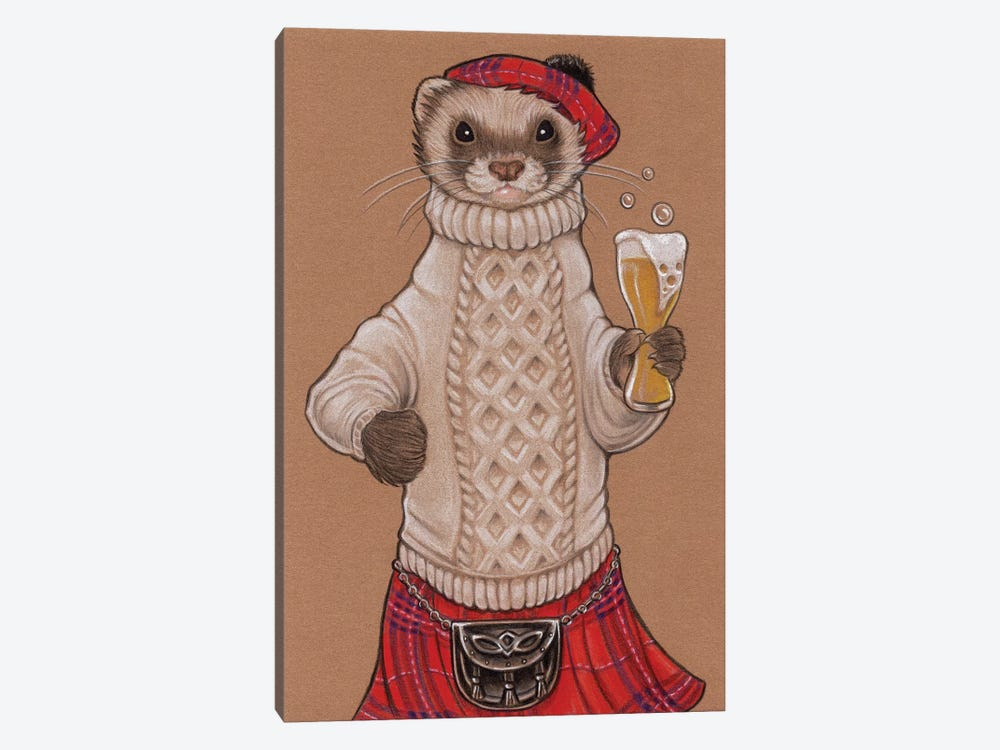 Ferret Scotsman by Natalie Ewert 1-piece Canvas Art Print