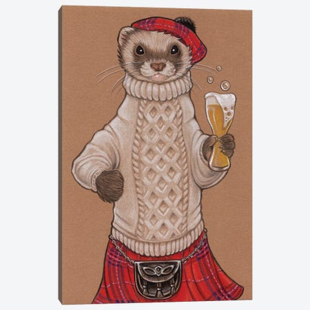 Ferret Scotsman Canvas Print #NEW13} by Natalie Ewert Canvas Art