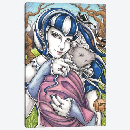 Goth Girl With Pig Canvas Print #NEW15} by Natalie Ewert Art Print