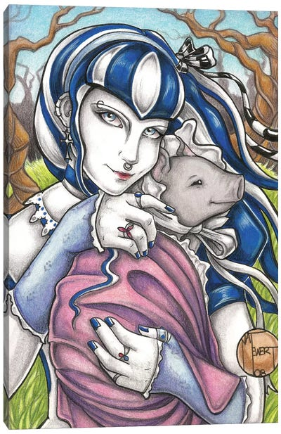 Goth Girl With Pig Canvas Art Print
