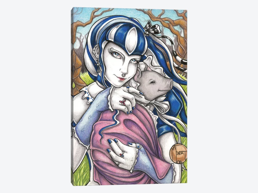 Goth Girl With Pig by Natalie Ewert 1-piece Canvas Art Print
