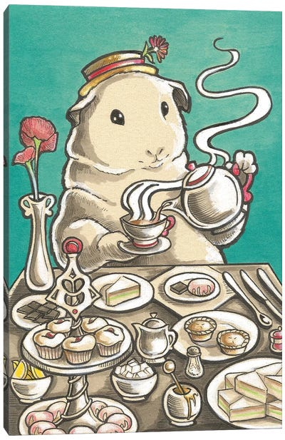 Guinea Pig High Tea Canvas Art Print