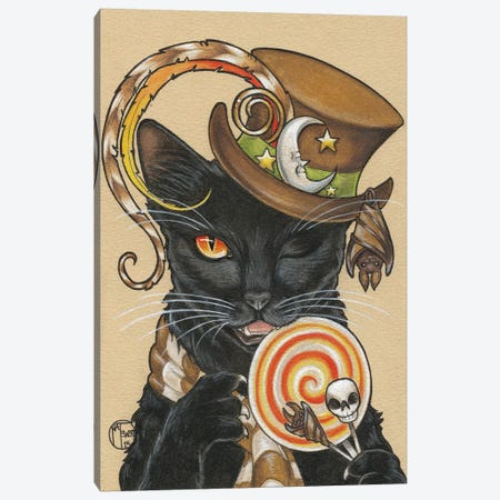 Halloween Cat With Lollipop Canvas Print #NEW17} by Natalie Ewert Canvas Print